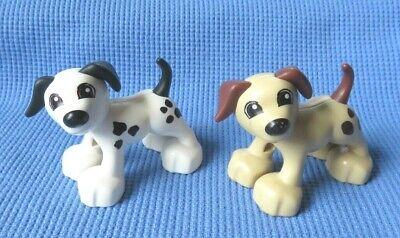 Lego Duplo 2 DOGS 1 White w/Spots 1 Tan House PETs ANIMALS LOT