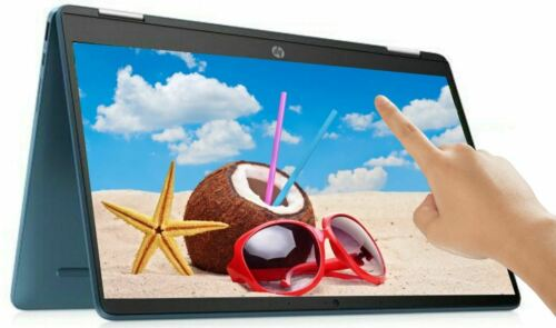 "HP 14"" TOUCHSCREEN 2-in-1 Intel 2.8GHz 64GB SSD 4GB RAM Chromebook Webcam Teal"