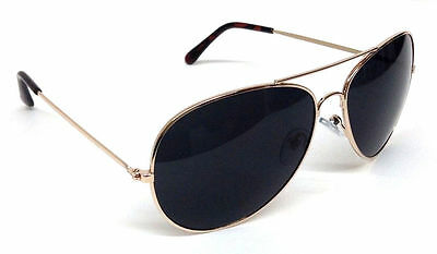 TOP GUN AVIATOR SUNGLASSES RETRO VINTAGE BLACK LENS POLICE PILOT METAL GOLD COP