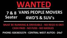 WANTED All 7 & 8 Seater Vans / People Movers & 4WD's Orange Orange Area Preview