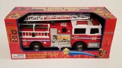 - Fire Truck Toy Fire Engine, Rescue Ladder Truck Lights and Sounds Friction Power