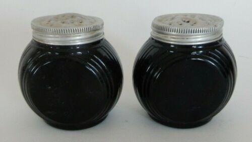 Vintage Old Black Glass Hoosier Deco Design Salt & Pepper Sellers Shakers   L