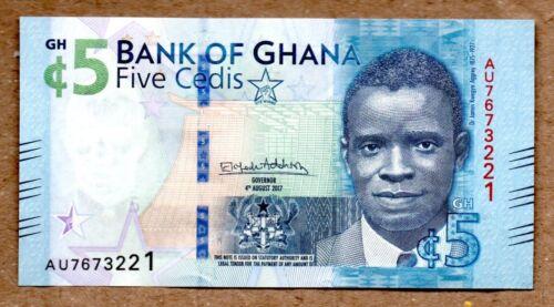 Ghana UNC Note 5 Cedis 2017 (2018) P-44 Regular Issue, Lighter Color