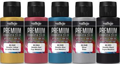 Vallejo Airbrush Premium Farben Set 5x 60ml *Metallic Airbrushfarben Acrylfarben