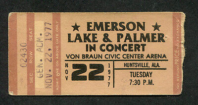 1977 Emerson Lake & Palmer concert ticket stub Huntsville AL Brain Salad Surgery