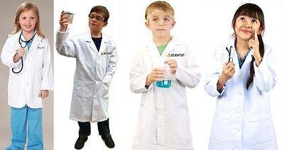 Kids Child CUSTOM PRINTED UR NAME LAB COAT Boys Girls Doctor Scientist Costume - Kids Customes