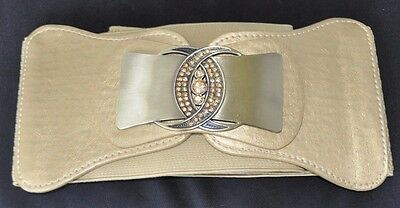 NEW Gold Gemstone Wide Belt - 40s 50s Fashion Elegant Costume Belt Stretch Fit