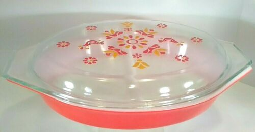 Vintage 1971-74 Pyrex Friendship1 1/2 QT Divided Dish with clear decorated Lid