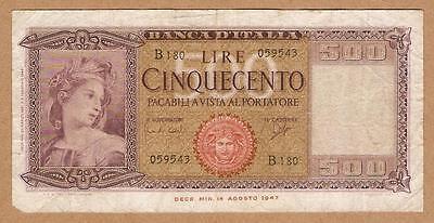 1947 ITALY Note 500 LIRE .