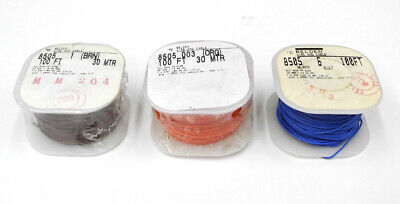 THREE Belden 100' Rolls 8505 Brown, Orange, Blue Hookup Wire 28 AWG Stranded. CG