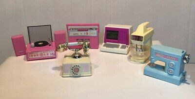 LOT OF 6 BARBIE MAGIC MOVES RADIO MIXER TELEPHONE COMPUTER RECORD PLAYER SEWING