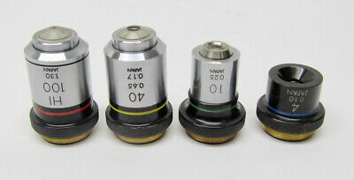 Generic 4x 10x 40x 100x Objective Lens Set From Bausch Lomb Microscope