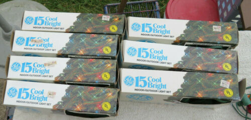 Lot of 7 Boxes Vintage GE 15 Cool Bright Light Sets C7 All Work
