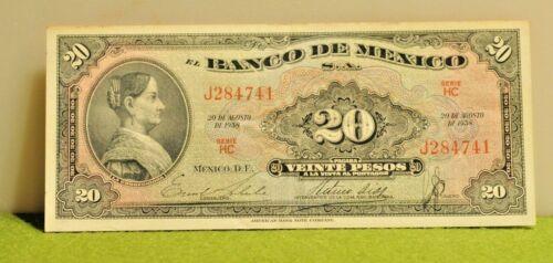 1958 Mexico 20 Peso Banknote au/unc