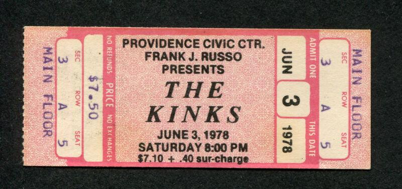 1978 Kinks unused full concert ticket Providence RI Misfits You Really Got Me