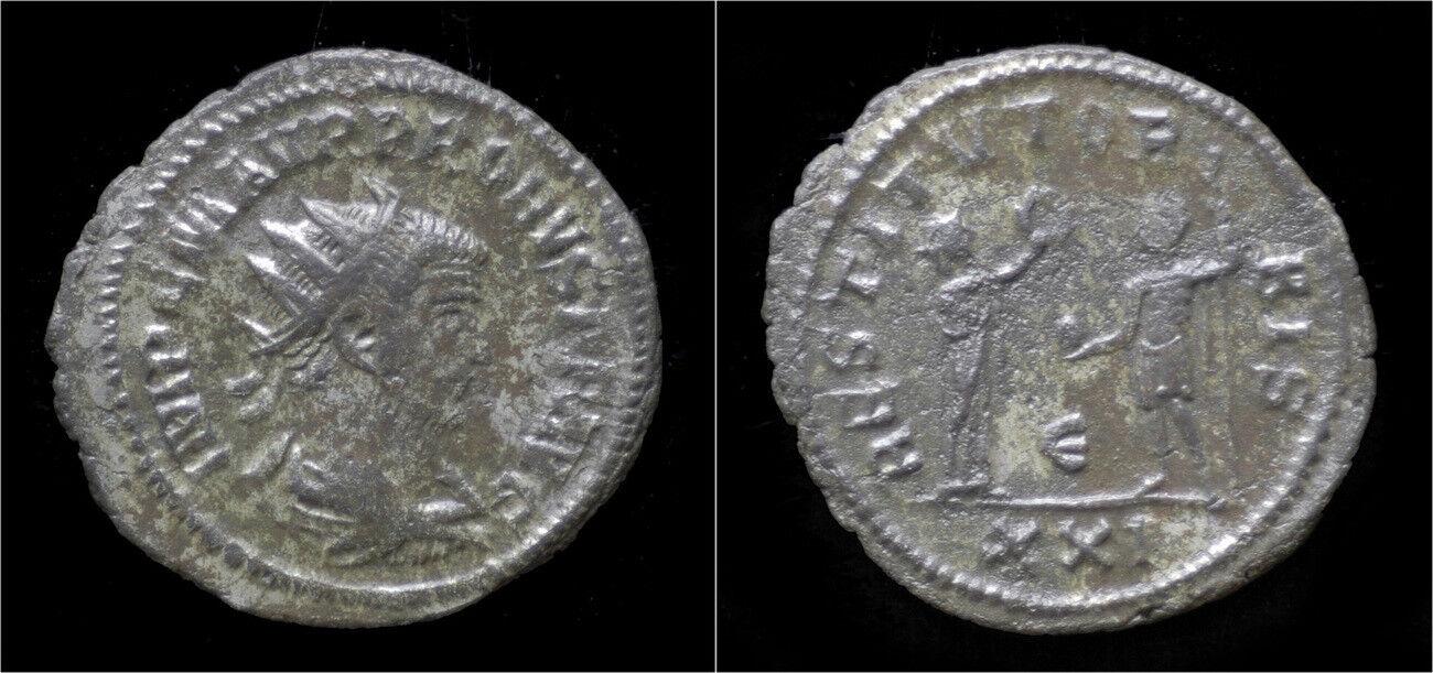 Probus silvered antoninianus Orbis presenting wreath