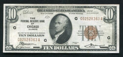 FR. 1860-G 1929 $10 FRBN FEDERAL RESERVE BANK NOTE CHICAGO, IL EXTREMELY FINE