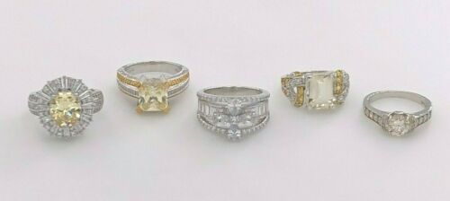 JTV STERLING SILVER 925 CLEAR & YELLOW CZ & MULTI-GEMSTONE COCKTAIL 5 RINGS LOT