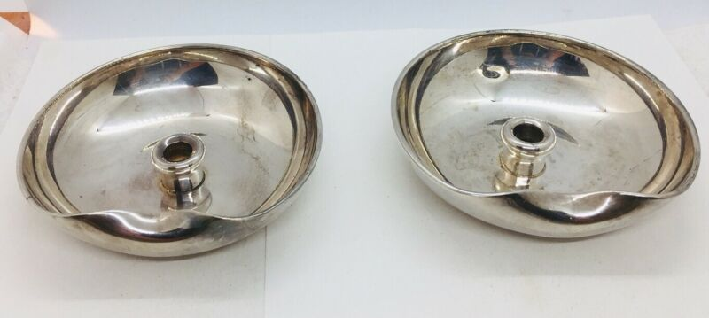 Tiffany & Co Pair Elsa Peretti Sterling Silver Thumbprint Chamberstick Bowls