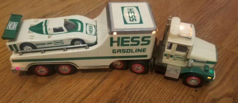 Vintage Hess Gasoline Toy Semi Truck Trailer Car Hauler 1998
