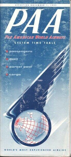 PAA Pan American World Airways timetable 1954/11/01