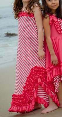 NWT Boutique Loves Me Not Clothing Coral Pink Jersey Knit Coral Maxi Dress 8 Yrs (Love Me Not Clothing)