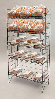 Floor Wire Shelf Display Rack - 5 Adjustable Shelves Choice Of Color