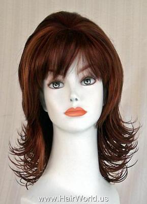 Light Ginger/Medium & Dark Auburn Med-length Layered Full Wig w/Flips & - Ginger Wig