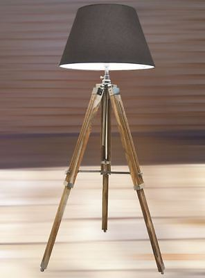 RETRO STYLISH TEAK WOODEN NAUTICAL TRIPOD FLOOR LAMP VINTAGE HOME DECOR