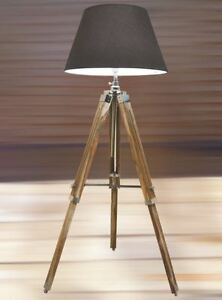 Nautical Tripod Retro Stylish Teak Wooden Floor Lamp
