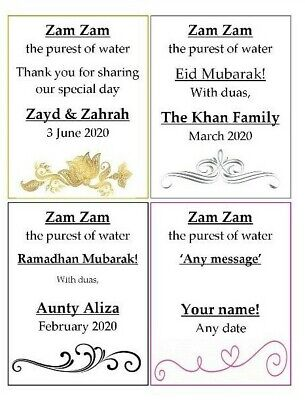 PERSONALISED ZAM ZAM water ramadhan / eid mubarak label STICKERS for bottles (Personalized Labels For Water Bottles)