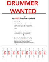 Drummer Wanted for Alternative Rock Band