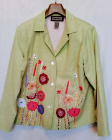 Indigo Moon Boxy Jacket, Green with Floral Applique