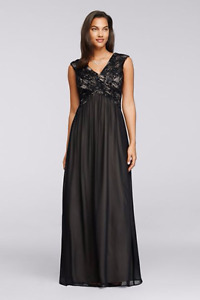Long Black Lace Gown with Embellished Bodice - Petite
