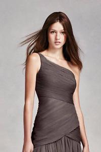 Vera Wang, David's bridal, One Shoulder Dress (charcoal, 8)