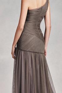 Vera Wang prom, gown,bridesmaid One Shoulder Dress (grey, 6-8)