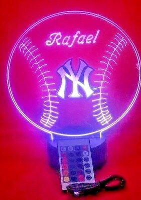 New York Yankees Light Up Lamp Personalized NY Yankees MLB Baseball LED, Remote New York Yankees Led