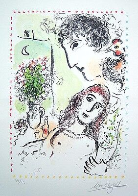 "MARC CHAGALL Hand Signed 1983 Original Color Lithograph - ""Tendresse"""