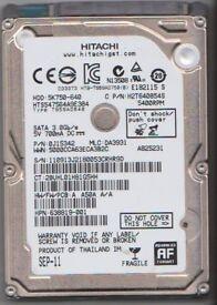 "Hitachi 2.5"" SATA 640GB hard disk drive."