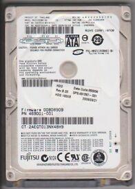 """Fujitsu 2.5"""" SATA 160GB hard disk drive."""