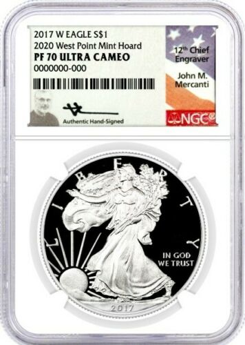 2017 W $1 Proof Silver Eagle 2020 West Point Mint Hoard NGC PF70 UCAM Mercanti