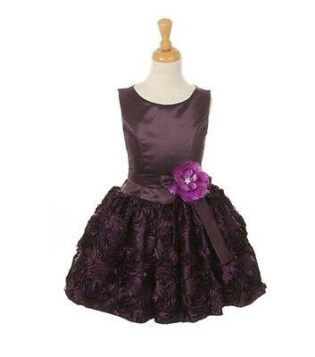 Purple Gorgeous Horizontal Striped Rosette Flower Girl Dress Satin Bodice Junior - Gorgeous Flower Girl Dresses