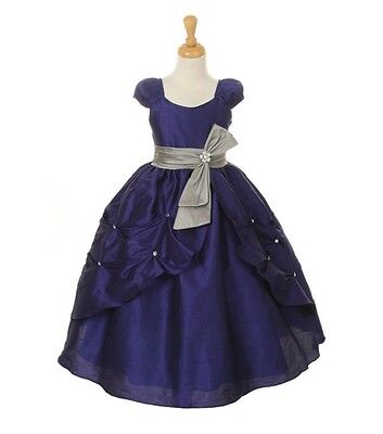 Blue Gorgeous Flower Girl Dress Pick-Up Contrast Sash Fully Lined Birthday Party