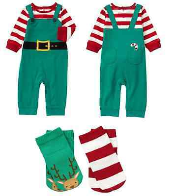 Gymboree Baby Boys Girls Elf One Piece Outfit Set Socks NEW Tags Christmas  - Elf Outfit Baby