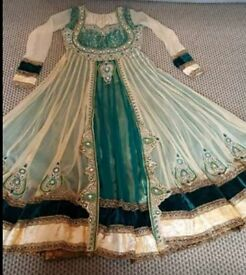 NEW GREEN/BEIGE ANARKALI