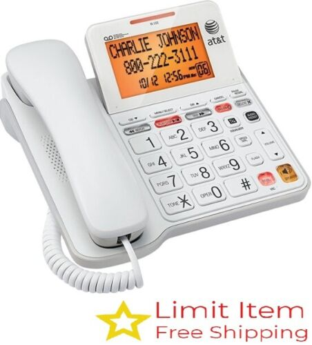 AT&T - CL4940 Corded Phone with Digital Answering System-Backlit Display - White