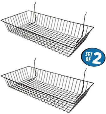 Only Hangers 24 X 12 X 4 Basket For Gridwallslatwallpegboard - Black 2pk