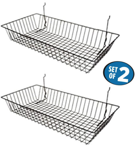 "Only Hangers 24"" x 12"" x 4"" Basket for Gridwall/Slatwall/Pegboard - Black 2pk"