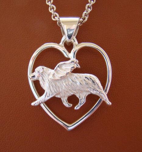 Sterling Silver Australian Shepherd Angel On A Heart Frame