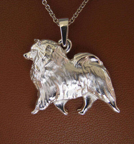 Large Sterling Silver Keeshond Moving Study Pendant